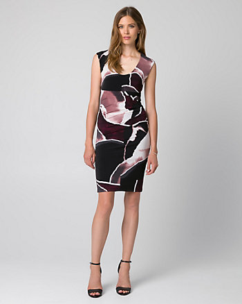 Abstract Print Knit Scoop Neck Shift Dress