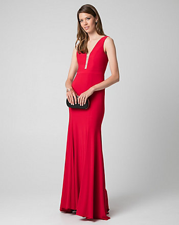 Knit V-Neck Gown