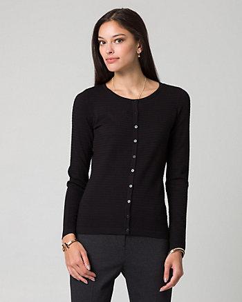 Cardigan boutonné en tricot fantaisie