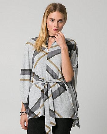Check Print Cut & Sew Knit Poncho Top