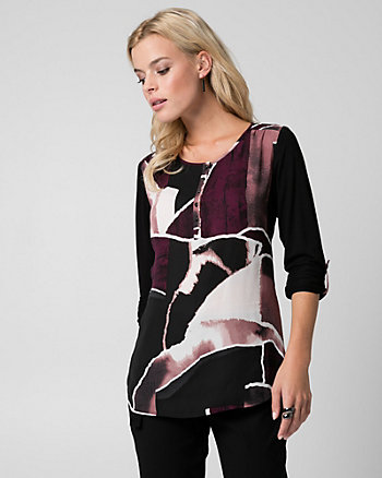 Abstract Print Crêpe de Chine & Jersey Top