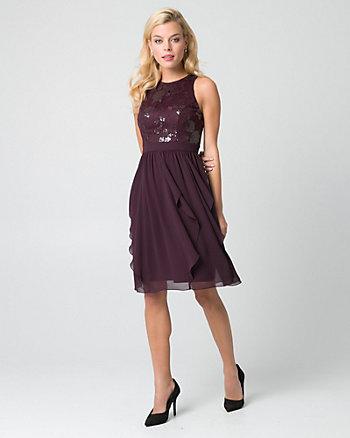 Lace & Chiffon Halter Cocktail Dress