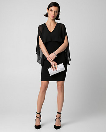 Knit & Chiffon V-Neck Cape Dress