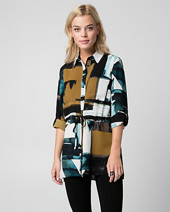 Abstract Print Crêpe de Chine Tunic Blouse