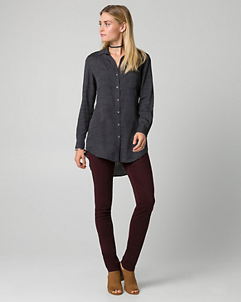 Challis Button-Front Tunic Blouse