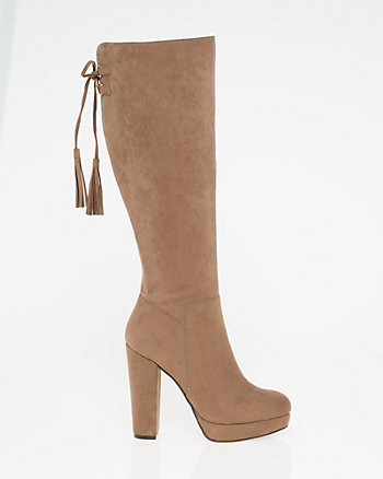 Faux Suede Almond Toe Knee-High Boot