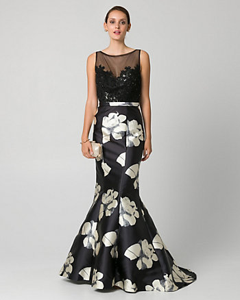 Floral Print Lace & Satin Illusion Gown