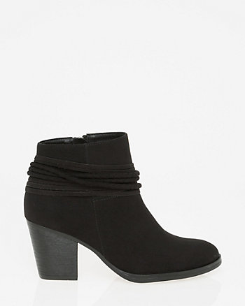 Faux Suede Almond Toe Ankle Boot