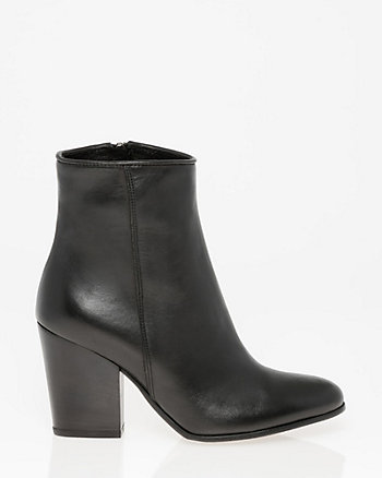 Italian-Made Leather Almond Toe Ankle Boot