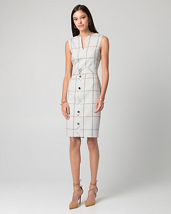Grid Check Print Viscose Blend Shift Dress