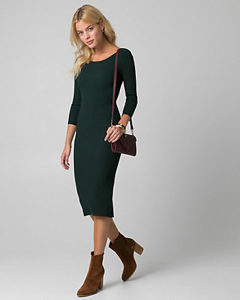 Rib Knit Boat Neck Sweater Dress