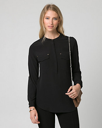 Viscose Mandarin Collar Blouse