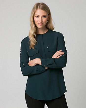 Viscose Mao Collar Blouse