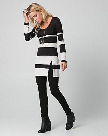 Stripe Jersey Scoop Neck Tunic Top