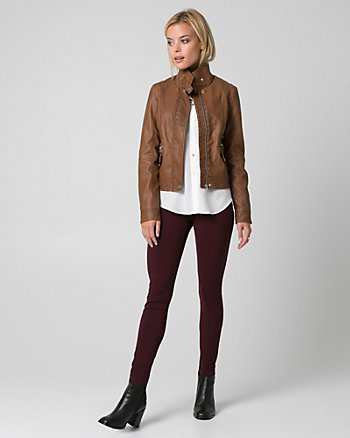 Two-Tone Leather-Like Motorcycle Jacket