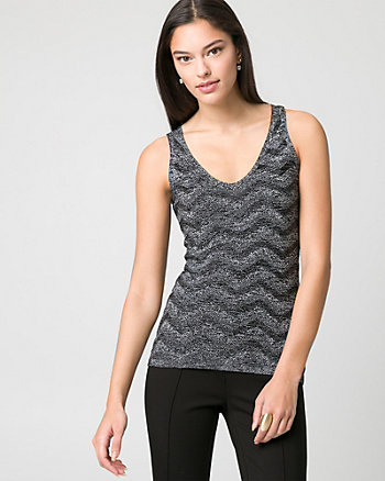 Textured Metallic Knit V-Neck Sweater