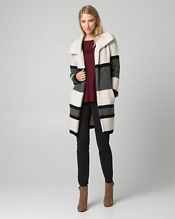 Stripe Knit Sweater Coat