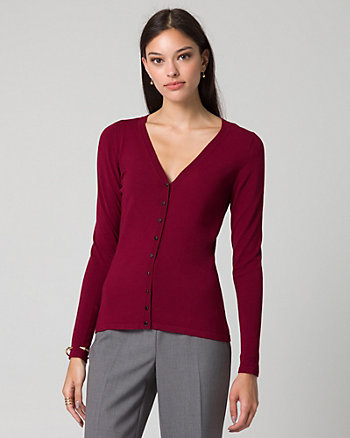Viscose Blend Button-Front Cardigan