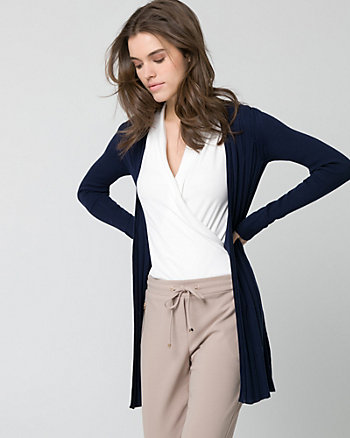 Textured Viscose Blend Open-Front Cardigan