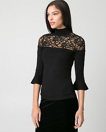 Textured Viscose Blend Mock Neck Sweater