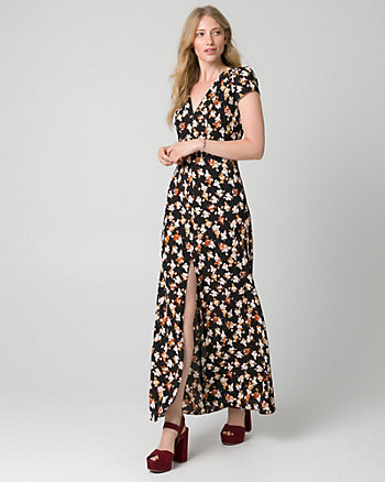 Floral Print Crêpe V-Neck Maxi Dress