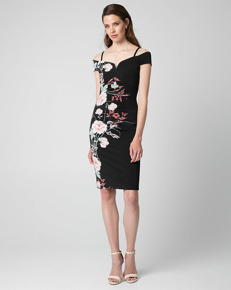 55f61c43f0dc4a Floral Print Knit Off-the-Shoulder Dress