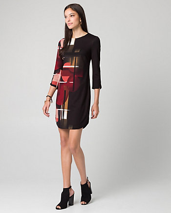 Geo Print Ponte Crew Neck Tunic Dress