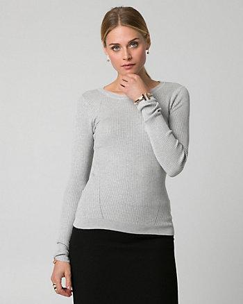 Rib Viscose Blend Crew Neck Sweater