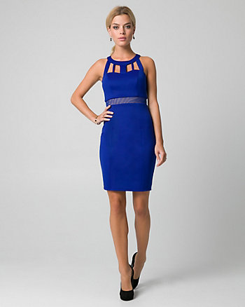 Mesh & Scuba Knit Halter Cocktail Dress