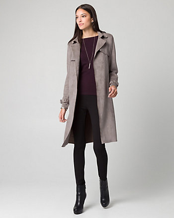 Faux Suede Spread Collar Trench Coat
