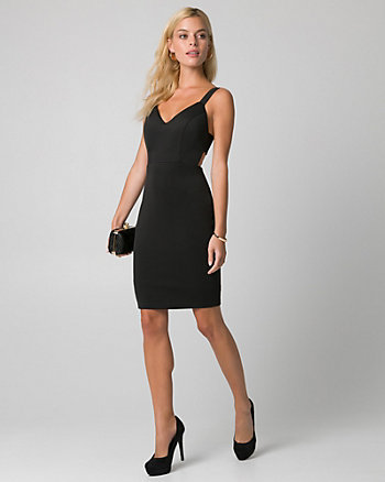 Scuba Knit V-Neck Banded Dress