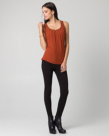 Chiffon & Jersey Scoop Neck Tank Top