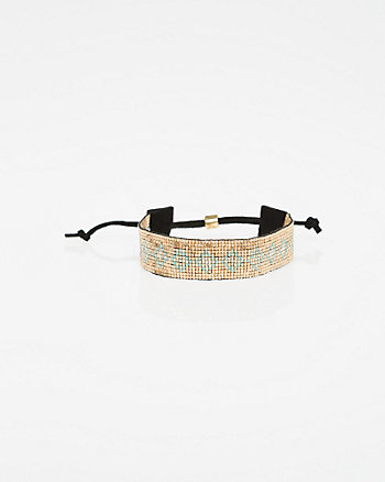 Beaded Faux Suede Bracelet