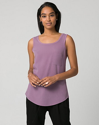 Crêpe de Chine Scoop Neck Tank Top
