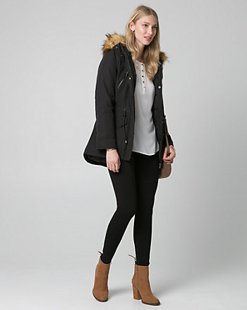 Faux Fur & Nylon Anorak Puffer Coat