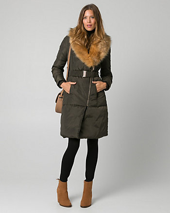 Faux Fur & Nylon Puffer Coat