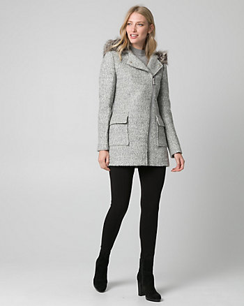 Faux Fur & Bouclé Asymmetrical Coat