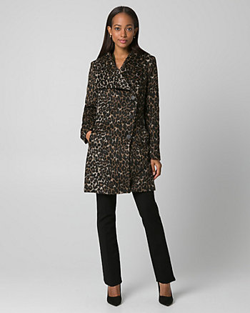 Leopard Print Jacquard Wrap Coat