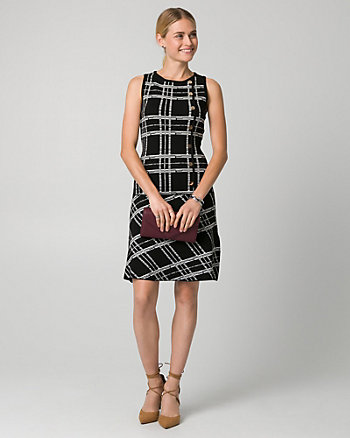 Check Print Viscose Blend Crew Neck Dress