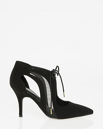 Mesh & Suede-Like Ghillie Tie Pump