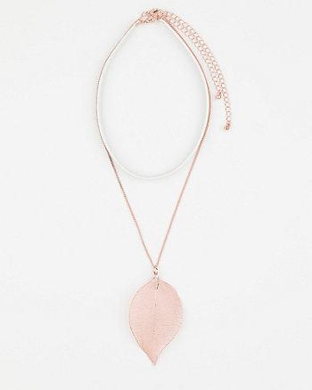 Leather-Like Choker & Metal Leaf Necklace