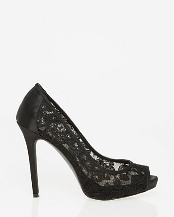 Lace & Satin Peep Toe Pump