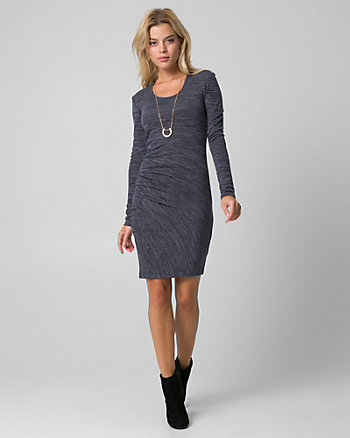 Cut & Sew Knit Scoop Neck Ruched Dress