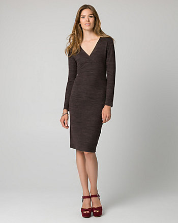 Cut & Sew Knit V-Neck Midi Dress