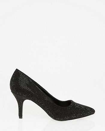 Jewel Embellished Suede-Like Pump