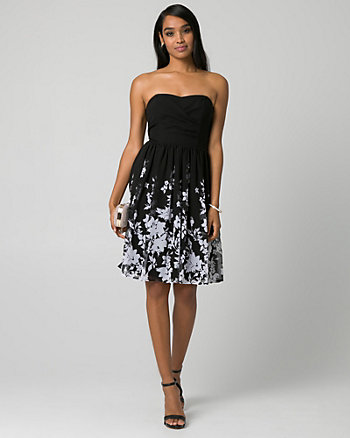 Floral Print Crêpe Chiffon Sweetheart Dress