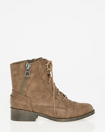 Faux Leather Lace-Up Ankle Boot