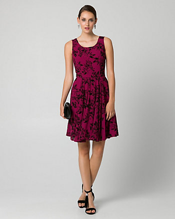 Flocked Floral Print Crêpe de Chine Dress