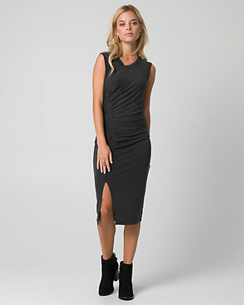 Brushed Jersey Crew Neck Ruched Dress
