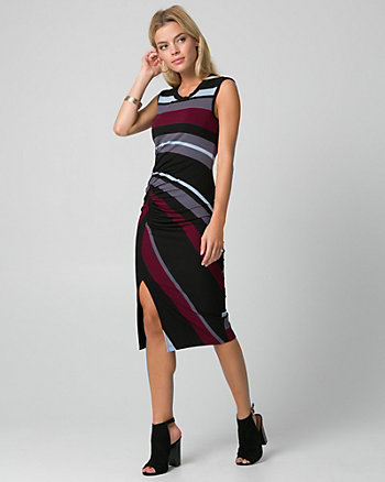 Stripe Jersey Crew Neck Ruched Dress